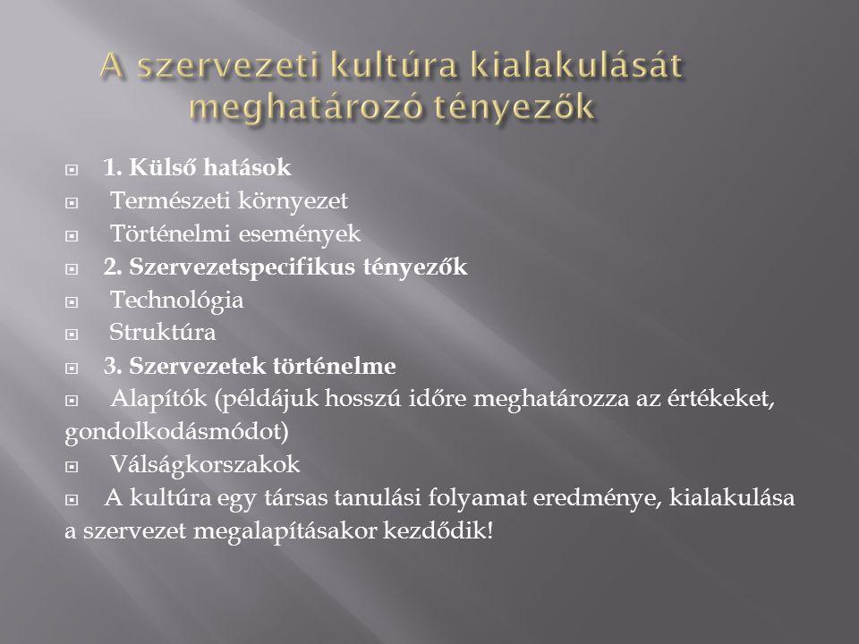  1. Külső hatások  Természeti környezet  Történelmi események  2. Szervezetspecifikus tényezők  Technológia  Struktúra  3. Szervezetek történel