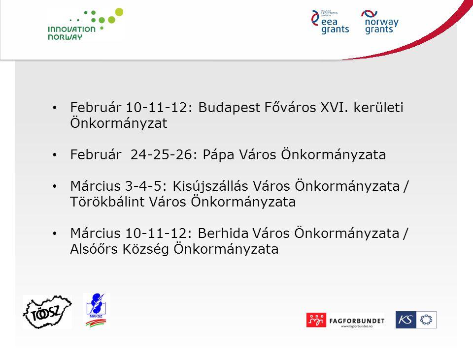 Február 10-11-12: Budapest Főváros XVI. kerületi Önkormányzat Február 24-25-26: Pápa Város Önkormányzata Március 3-4-5: Kisújszállás Város Önkormányza