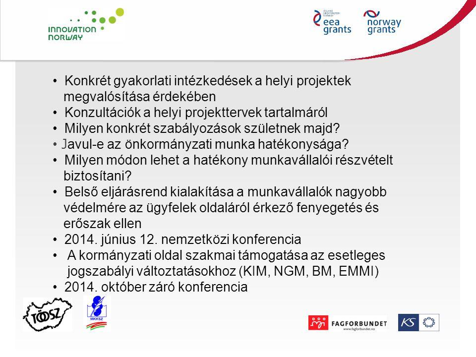 Konkrét gyakorlati intézkedések a helyi projektek megvalósítása érdekében Konzultációk a helyi projekttervek tartalmáról Milyen konkrét szabályozások