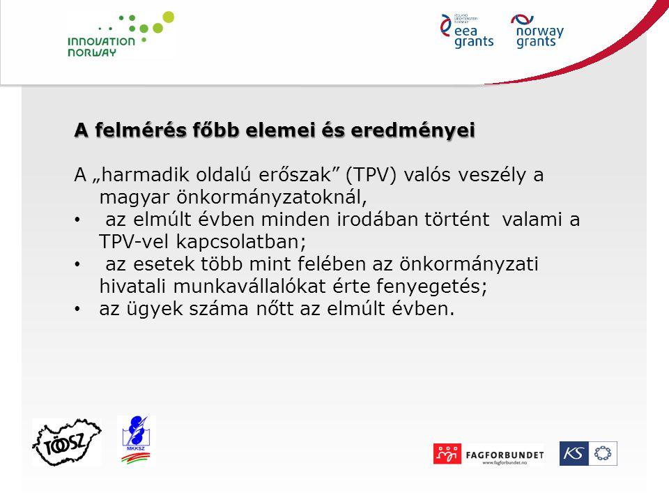 """A felmérés főbb elemei és eredményei A """"harmadik oldalú erőszak"""" (TPV) valós veszély a magyar önkormányzatoknál, az elmúlt évben minden irodában törté"""