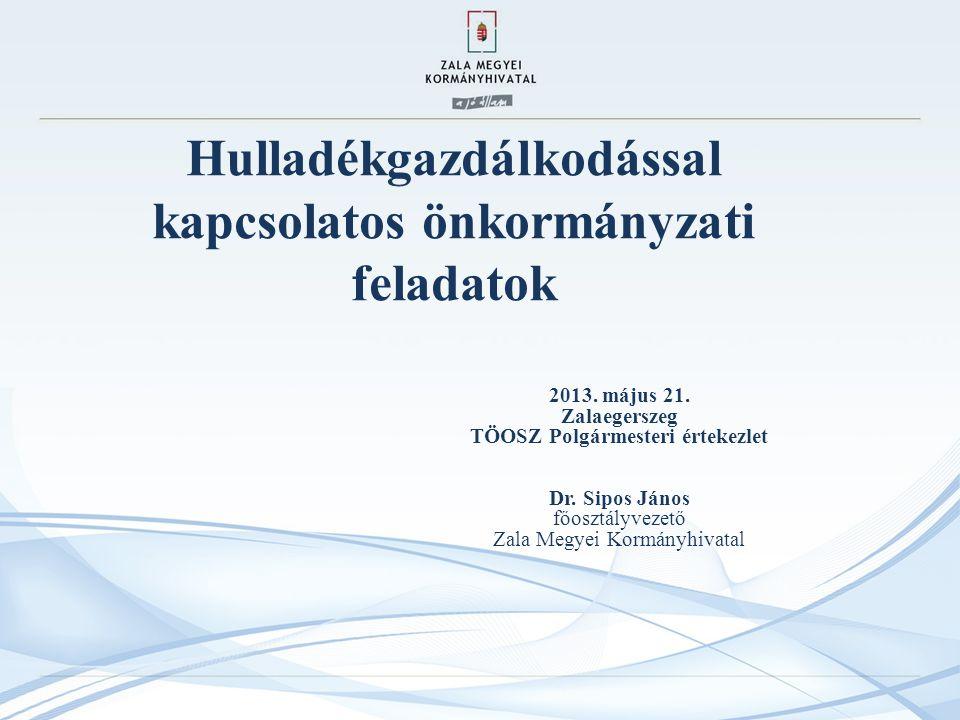 Hulladékgazdálkodással kapcsolatos önkormányzati feladatok 2013.
