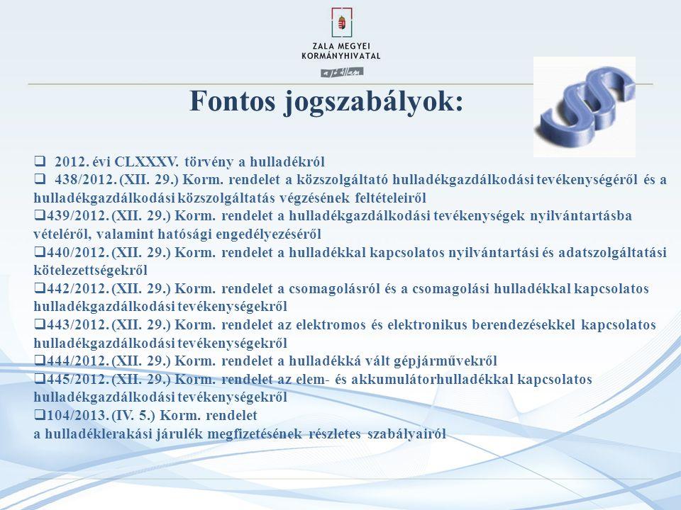 Fontos jogszabályok:  2012.évi CLXXXV. törvény a hulladékról  438/2012.