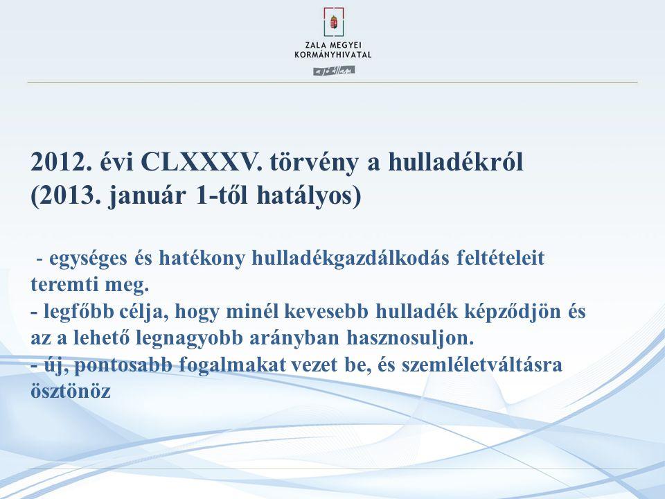 2012.évi CLXXXV. törvény a hulladékról (2013.