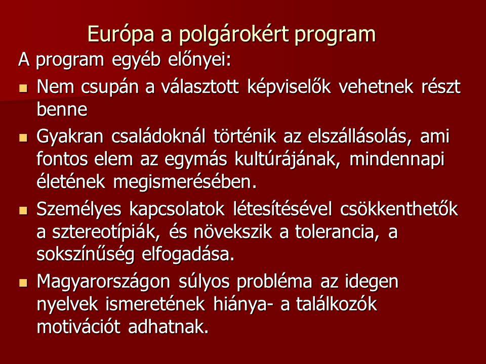 Európa a polgárokért program A program egyéb előnyei: Nem csupán a választott képviselők vehetnek részt benne Nem csupán a választott képviselők vehetnek részt benne Gyakran családoknál történik az elszállásolás, ami fontos elem az egymás kultúrájának, mindennapi életének megismerésében.
