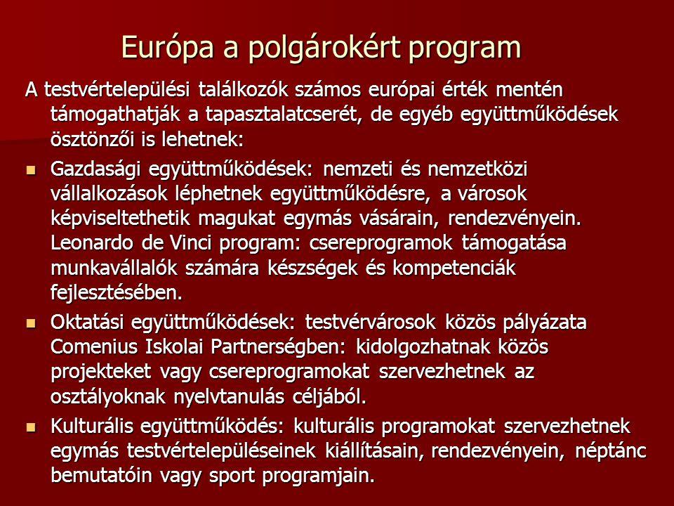 Európa a polgárokért program A testvértelepülési találkozók számos európai érték mentén támogathatják a tapasztalatcserét, de egyéb együttműködések ösztönzői is lehetnek: Gazdasági együttműködések: nemzeti és nemzetközi vállalkozások léphetnek együttműködésre, a városok képviseltethetik magukat egymás vásárain, rendezvényein.