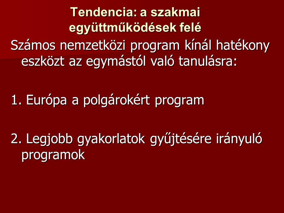 Tendencia: a szakmai együttműködések felé Számos nemzetközi program kínál hatékony eszközt az egymástól való tanulásra: 1.
