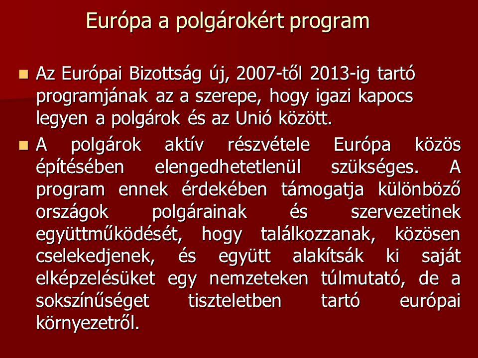 Európa a polgárokért program Az Európai Bizottság új, 2007-től 2013-ig tartó programjának az a szerepe, hogy igazi kapocs legyen a polgárok és az Unió között.