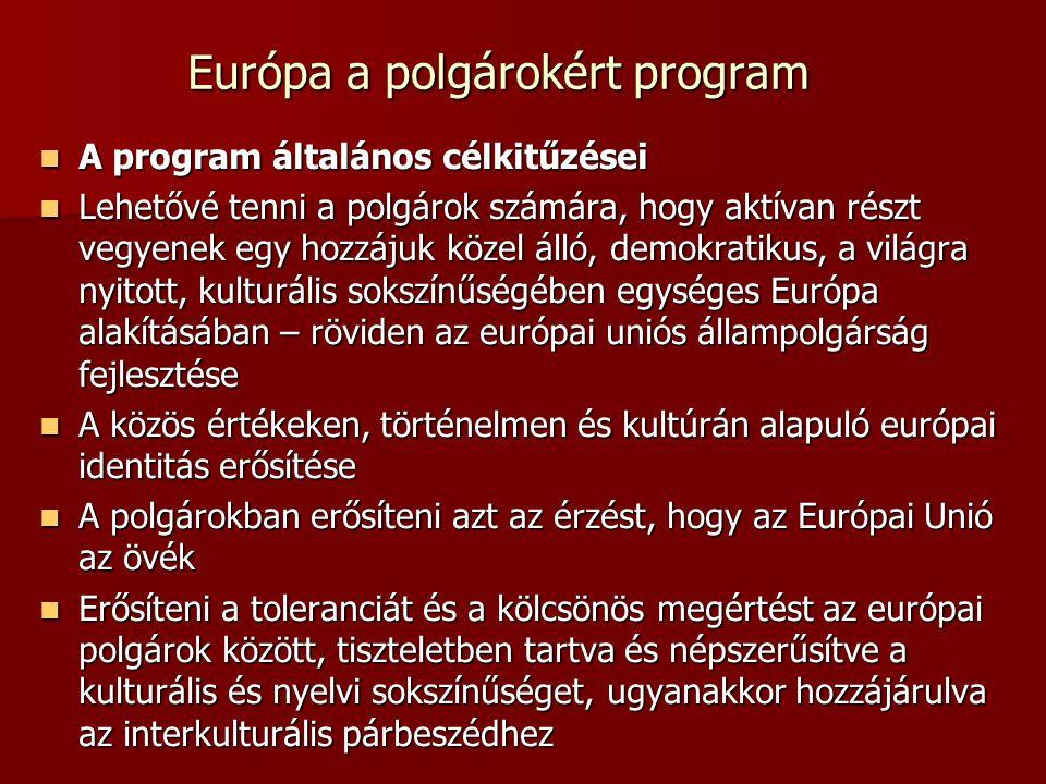 Európa a polgárokért program A program általános célkitűzései A program általános célkitűzései Lehetővé tenni a polgárok számára, hogy aktívan részt vegyenek egy hozzájuk közel álló, demokratikus, a világra nyitott, kulturális sokszínűségében egységes Európa alakításában – röviden az európai uniós állampolgárság fejlesztése Lehetővé tenni a polgárok számára, hogy aktívan részt vegyenek egy hozzájuk közel álló, demokratikus, a világra nyitott, kulturális sokszínűségében egységes Európa alakításában – röviden az európai uniós állampolgárság fejlesztése A közös értékeken, történelmen és kultúrán alapuló európai identitás erősítése A közös értékeken, történelmen és kultúrán alapuló európai identitás erősítése A polgárokban erősíteni azt az érzést, hogy az Európai Unió az övék A polgárokban erősíteni azt az érzést, hogy az Európai Unió az övék Erősíteni a toleranciát és a kölcsönös megértést az európai polgárok között, tiszteletben tartva és népszerűsítve a kulturális és nyelvi sokszínűséget, ugyanakkor hozzájárulva az interkulturális párbeszédhez Erősíteni a toleranciát és a kölcsönös megértést az európai polgárok között, tiszteletben tartva és népszerűsítve a kulturális és nyelvi sokszínűséget, ugyanakkor hozzájárulva az interkulturális párbeszédhez