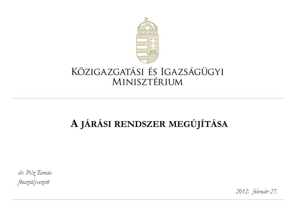 A JÁRÁSI RENDSZER MEGÚJÍTÁSA dr. Pilz Tamás főosztályvezető 2012. február 27.