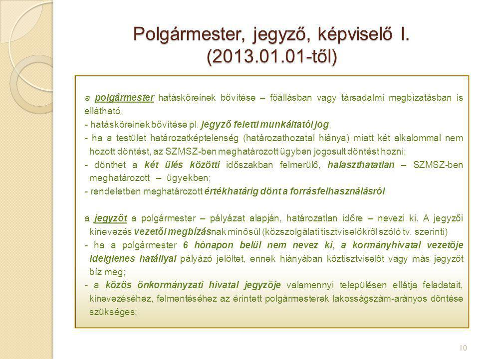 Polgármester, jegyző, képviselő I. (2013.01.01-től) 10 a polgármester hatásköreinek bővítése – főállásban vagy társadalmi megbízatásban is ellátható,