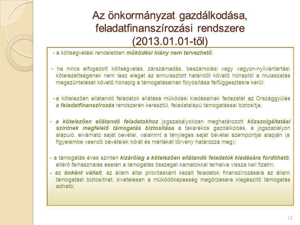Az önkormányzat gazdálkodása, feladatfinanszírozási rendszere (2013.01.01-től) 12 - a költségvetési rendeletben működési hiány nem tervezhető; - ha ni