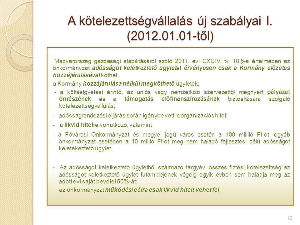 A kötelezettségvállalás új szabályai I. (2012.01.01-től) 13 Magyarország gazdasági stabilitásáról szóló 2011. évi CXCIV. tv. 10.§-a értelmében az önko