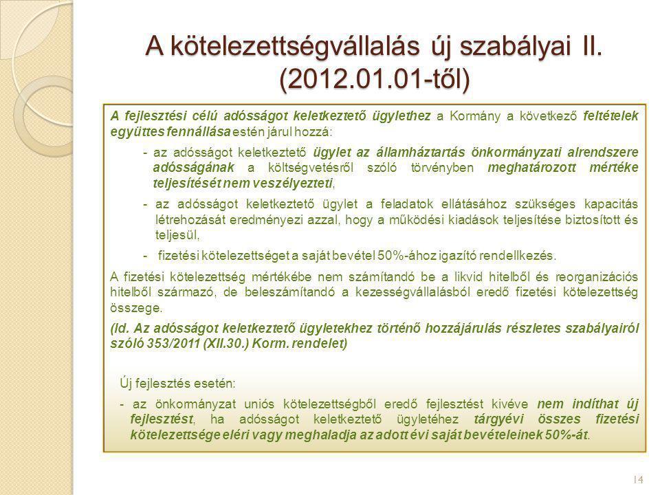 A kötelezettségvállalás új szabályai II. (2012.01.01-től) 14 A fejlesztési célú adósságot keletkeztető ügylethez a Kormány a következő feltételek együ