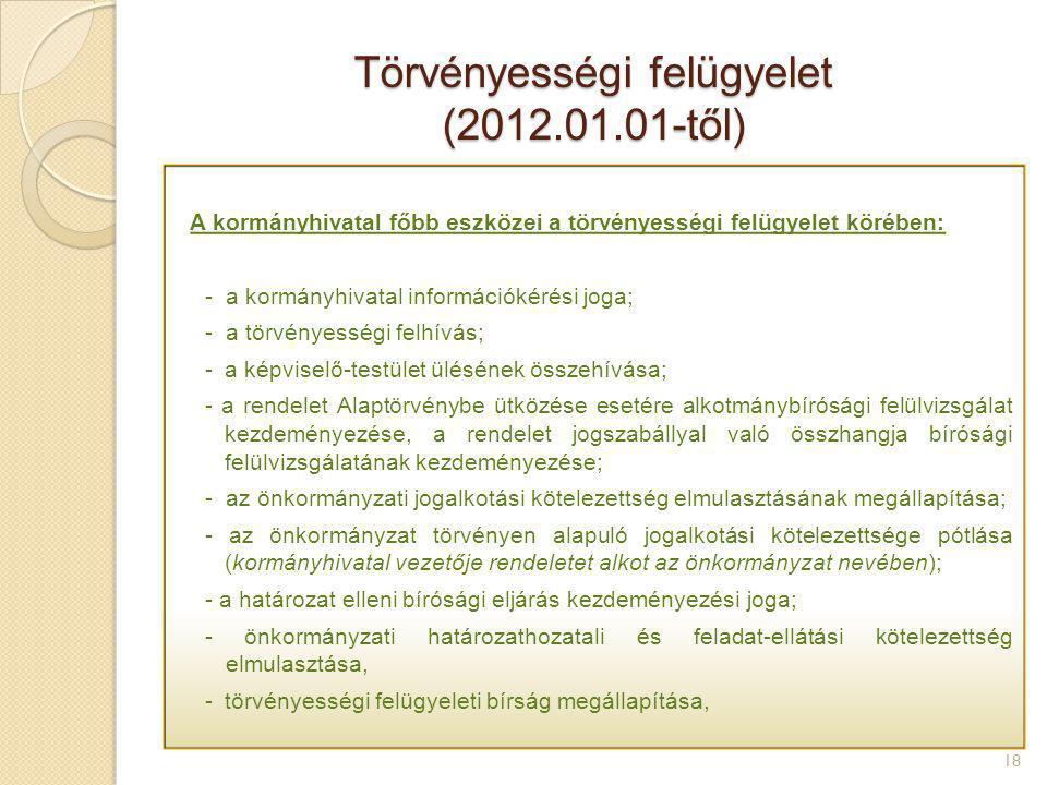 Törvényességi felügyelet (2012.01.01-től) 18 A kormányhivatal főbb eszközei a törvényességi felügyelet körében: - a kormányhivatal információkérési jo