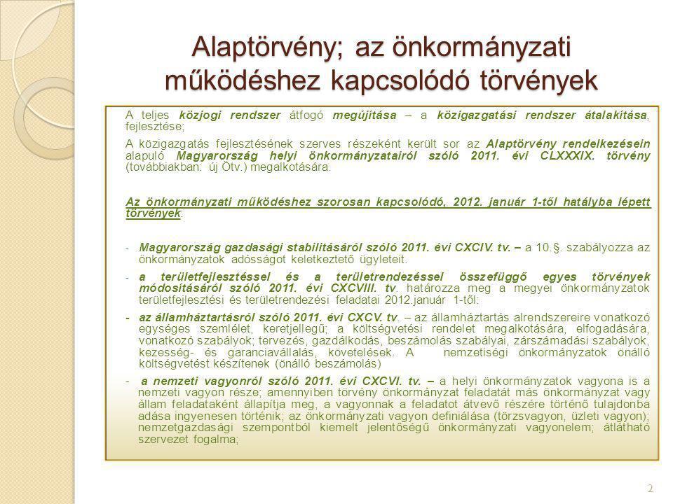 Alaptörvény; az önkormányzati működéshez kapcsolódó törvények 2 A teljes közjogi rendszer átfogó megújítása – a közigazgatási rendszer átalakítása, fe