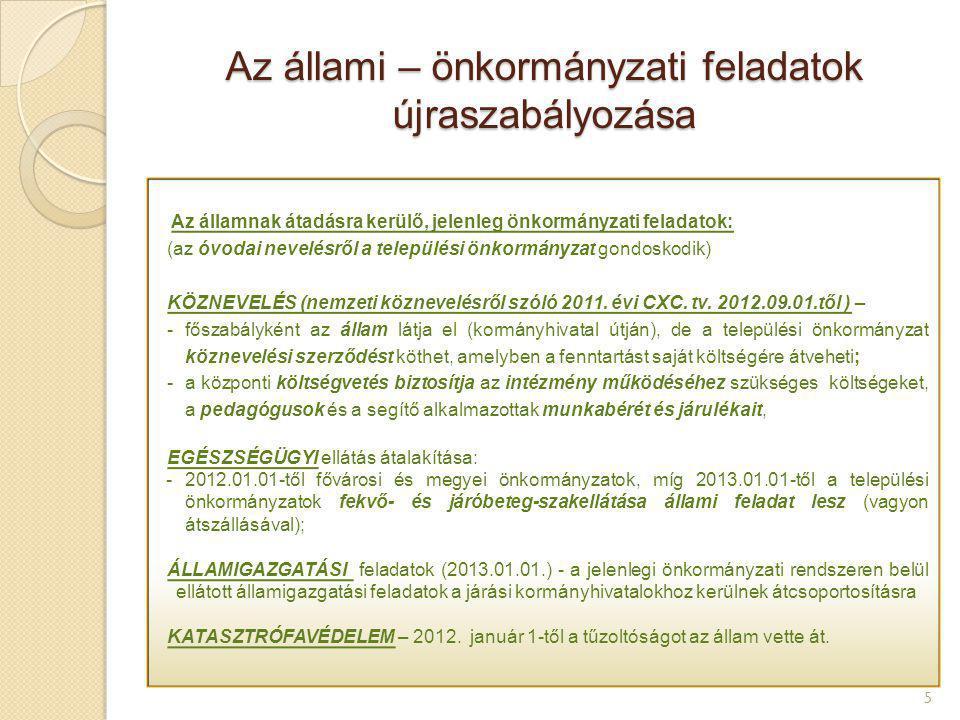 Az állami – önkormányzati feladatok újraszabályozása 5 Az államnak átadásra kerülő, jelenleg önkormányzati feladatok: (az óvodai nevelésről a települé
