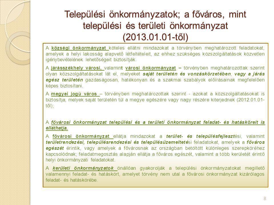 Települési önkormányzatok; a főváros, mint települési és területi önkormányzat (2013.01.01-től) 8 A községi önkormányzat köteles ellátni mindazokat a