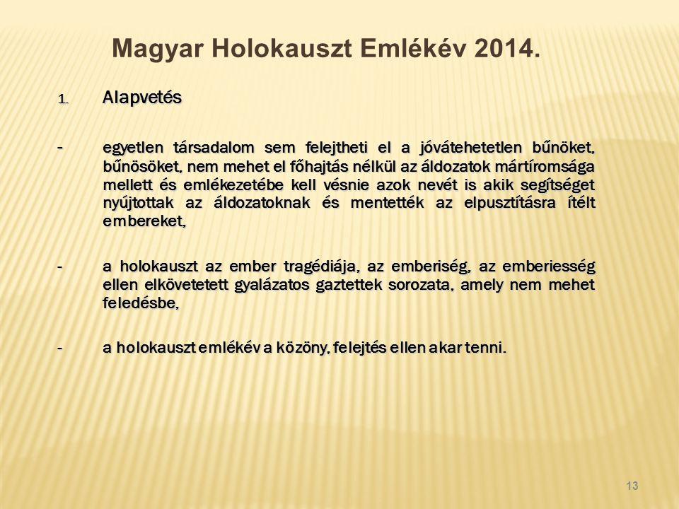 Magyar Holokauszt Emlékév 2014. 1.
