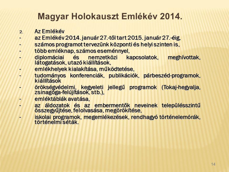 Magyar Holokauszt Emlékév 2014. 2. Az Emlékév -az Emlékév 2014.