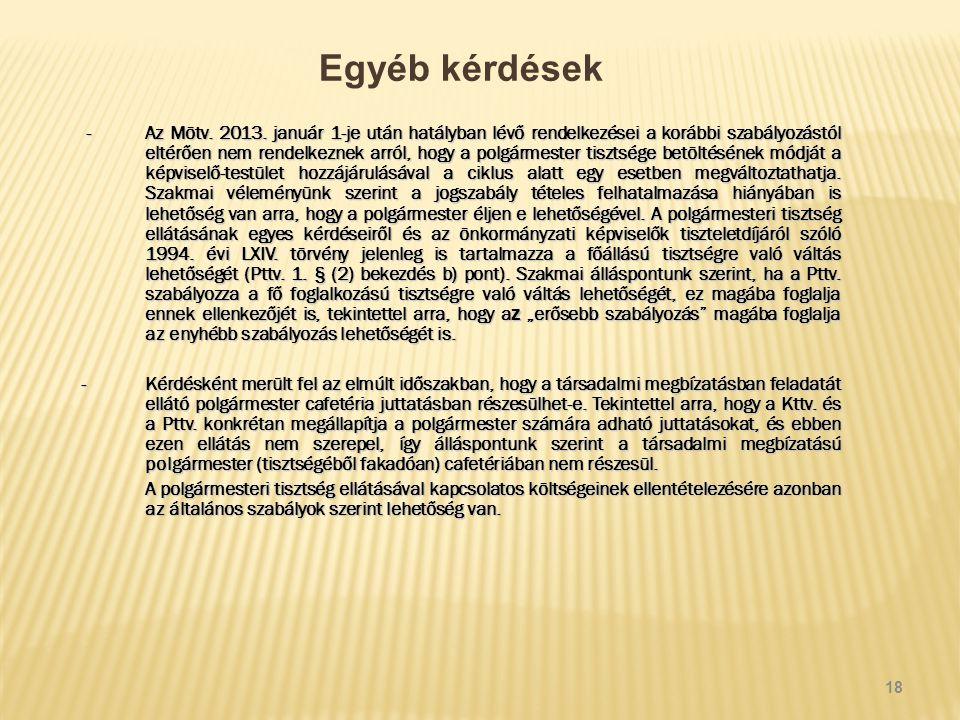 Egyéb kérdések -Az Mötv. 2013.