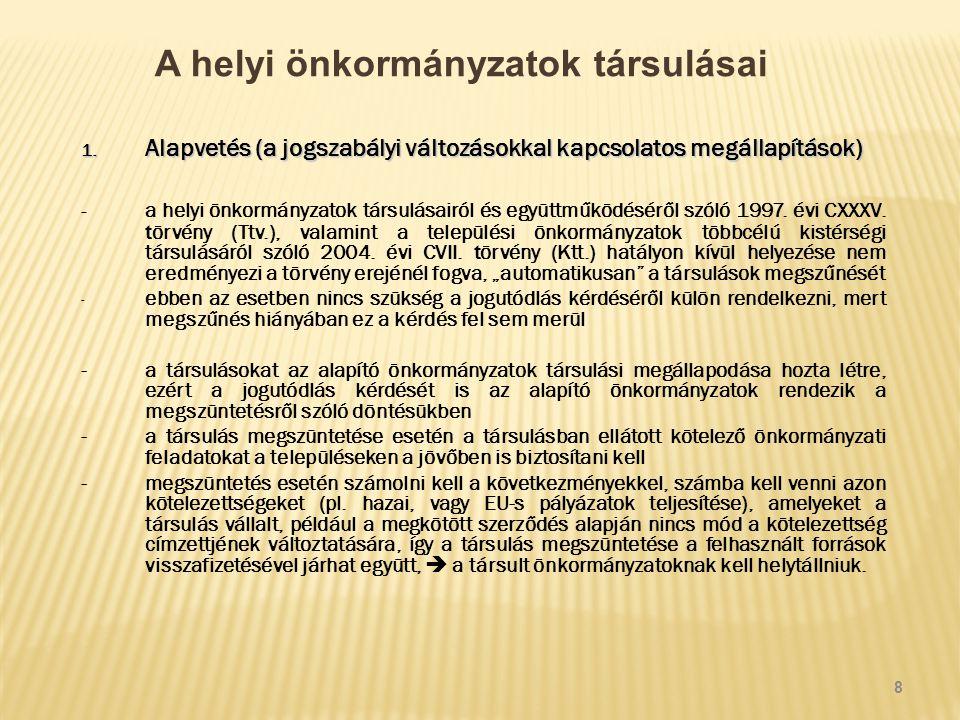 A helyi önkormányzatok társulásai 1.