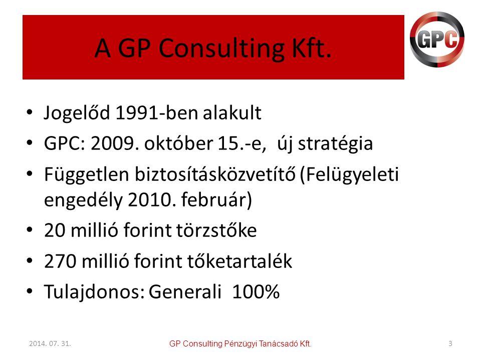 A GP Consulting Kft. Jogelőd 1991-ben alakult GPC: 2009. október 15.-e, új stratégia Független biztosításközvetítő (Felügyeleti engedély 2010. február