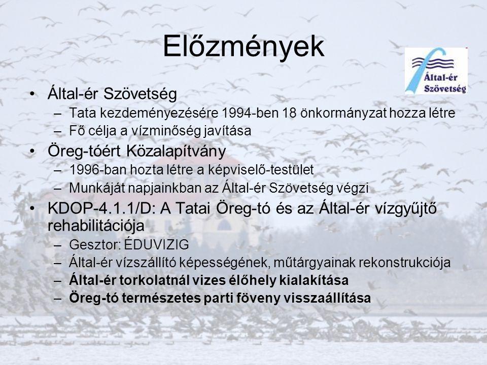 Előzmények Által-ér Szövetség –Tata kezdeményezésére 1994-ben 18 önkormányzat hozza létre –Fő célja a vízminőség javítása Öreg-tóért Közalapítvány –1996-ban hozta létre a képviselő-testület –Munkáját napjainkban az Által-ér Szövetség végzi KDOP-4.1.1/D: A Tatai Öreg-tó és az Által-ér vízgyűjtő rehabilitációja –Gesztor: ÉDUVIZIG –Által-ér vízszállító képességének, műtárgyainak rekonstrukciója –Által-ér torkolatnál vizes élőhely kialakítása –Öreg-tó természetes parti föveny visszaállítása