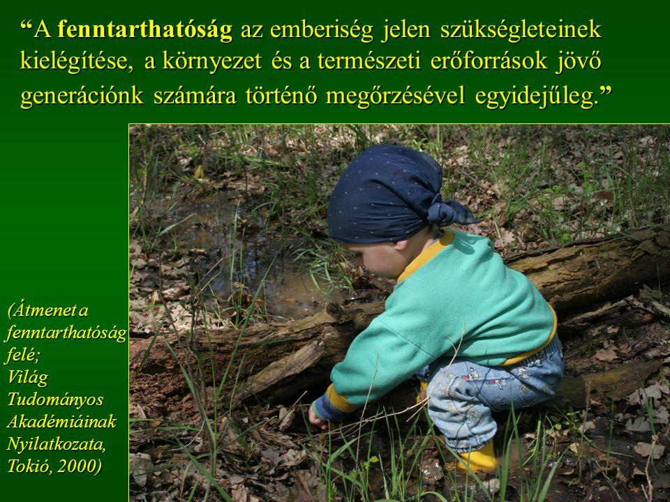 A fenntarthatóság az emberiség jelen szükségleteinek kielégítése, a környezet és a természeti erőforrások jövő generációnk számára történő megőrzésével egyidejűleg. (Átmenet a fenntarthatóság felé;Világ Tudományos Akadémiáinak Nyilatkozata, Tokió, 2000)