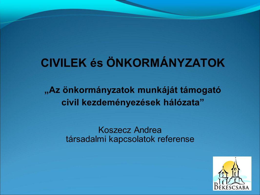 """Koszecz Andrea társadalmi kapcsolatok referense CIVILEK és ÖNKORMÁNYZATOK """"Az önkormányzatok munkáját támogató civil kezdeményezések hálózata"""""""