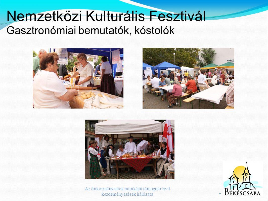 Nemzetközi Kulturális Fesztivál Gasztronómiai bemutatók, kóstolók * Az önkormányzatok munkáját támogató civil kezdeményezések hálózata