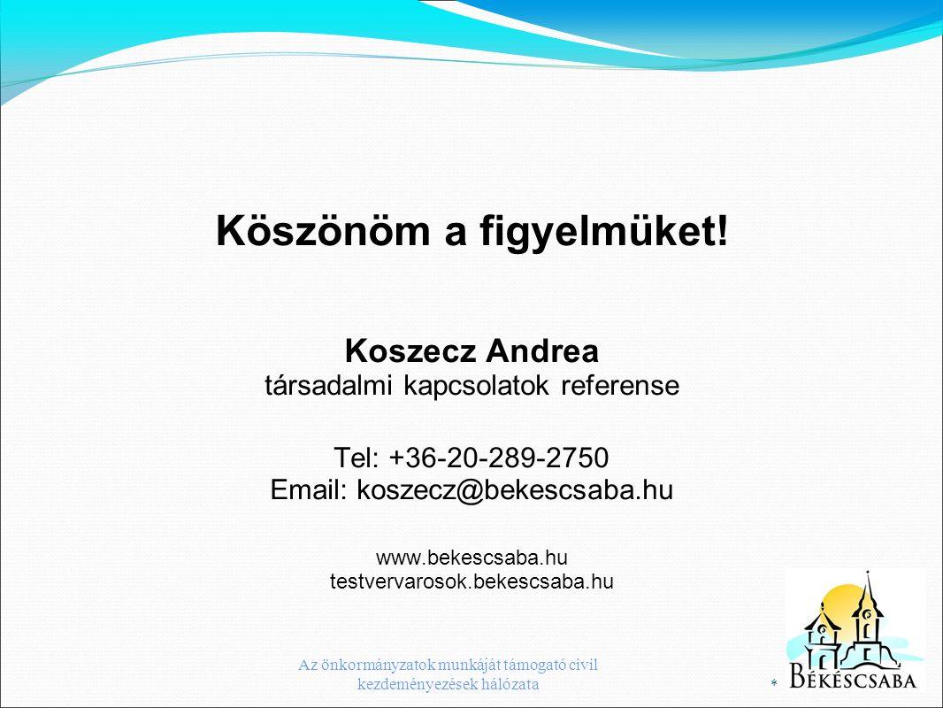 Köszönöm a figyelmüket! Koszecz Andrea társadalmi kapcsolatok referense Tel: +36-20-289-2750 Email: koszecz@bekescsaba.hu www.bekescsaba.hu testvervar
