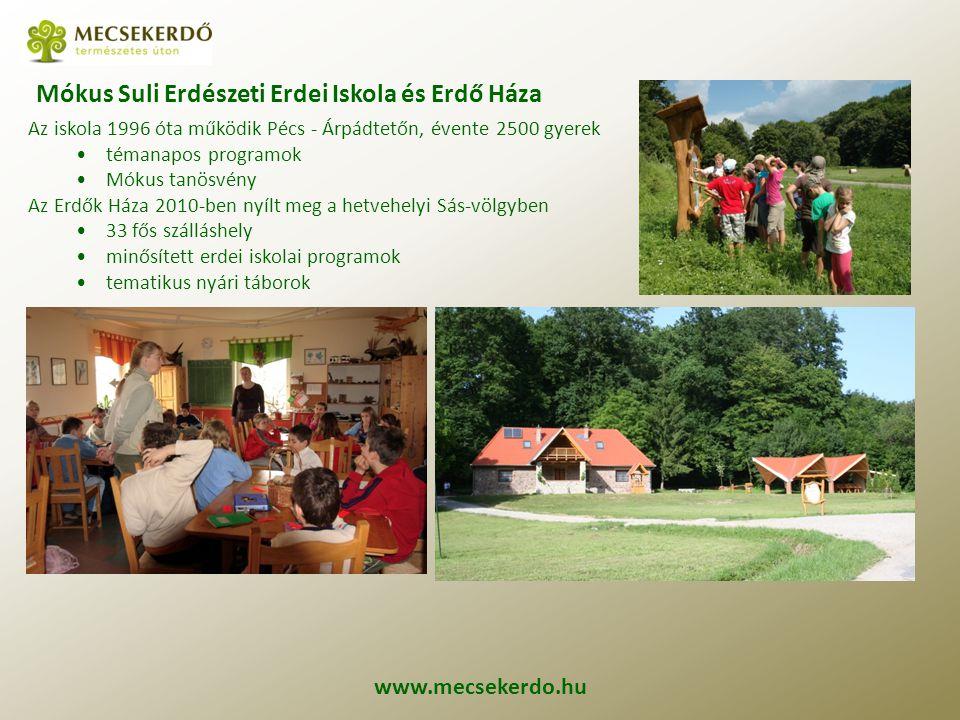 www.mecsekerdo.hu Mókus Suli Erdészeti Erdei Iskola és Erdő Háza Az iskola 1996 óta működik Pécs - Árpádtetőn, évente 2500 gyerek témanapos programok Mókus tanösvény Az Erdők Háza 2010-ben nyílt meg a hetvehelyi Sás-völgyben 33 fős szálláshely minősített erdei iskolai programok tematikus nyári táborok
