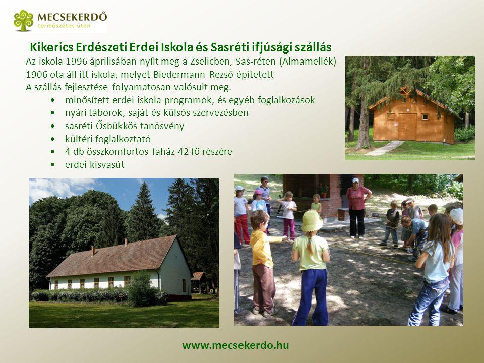 Kikerics Erdészeti Erdei Iskola és Sasréti ifjúsági szállás Az iskola 1996 áprilisában nyílt meg a Zselicben, Sas-réten (Almamellék) 1906 óta áll itt iskola, melyet Biedermann Rezső építetett A szállás fejlesztése folyamatosan valósult meg.