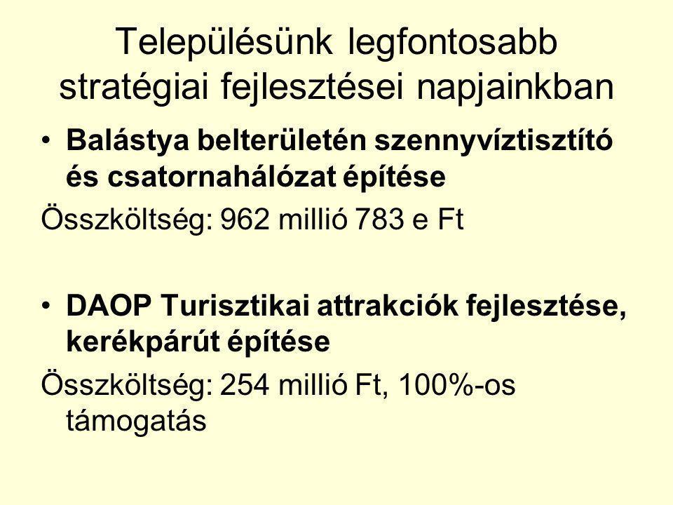 Településünk legfontosabb stratégiai fejlesztései napjainkban Balástya belterületén szennyvíztisztító és csatornahálózat építése Összköltség: 962 mill
