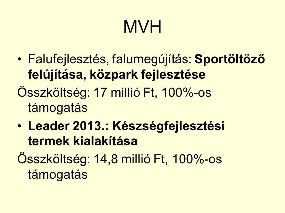MVH Falufejlesztés, falumegújítás: Sportöltöző felújítása, közpark fejlesztése Összköltség: 17 millió Ft, 100%-os támogatás Leader 2013.: Készségfejlesztési termek kialakítása Összköltség: 14,8 millió Ft, 100%-os támogatás