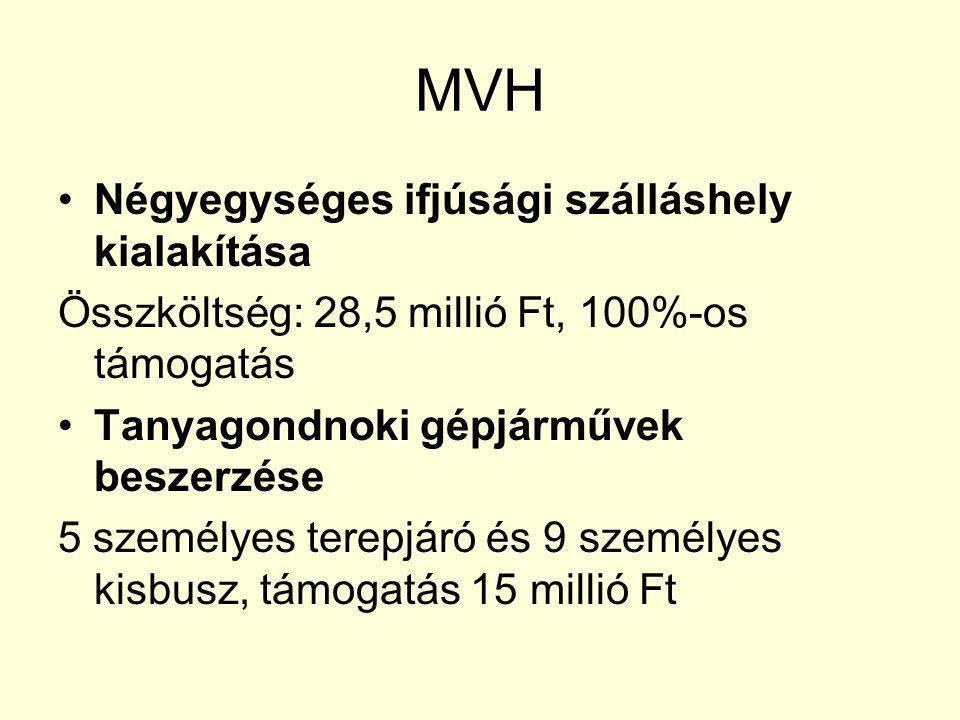 MVH Négyegységes ifjúsági szálláshely kialakítása Összköltség: 28,5 millió Ft, 100%-os támogatás Tanyagondnoki gépjárművek beszerzése 5 személyes terepjáró és 9 személyes kisbusz, támogatás 15 millió Ft