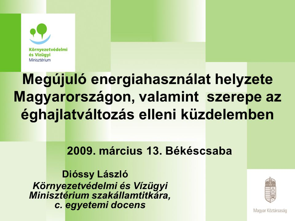 Megújuló energiahasználat helyzete Magyarországon, valamint szerepe az éghajlatváltozás elleni küzdelemben 2009.