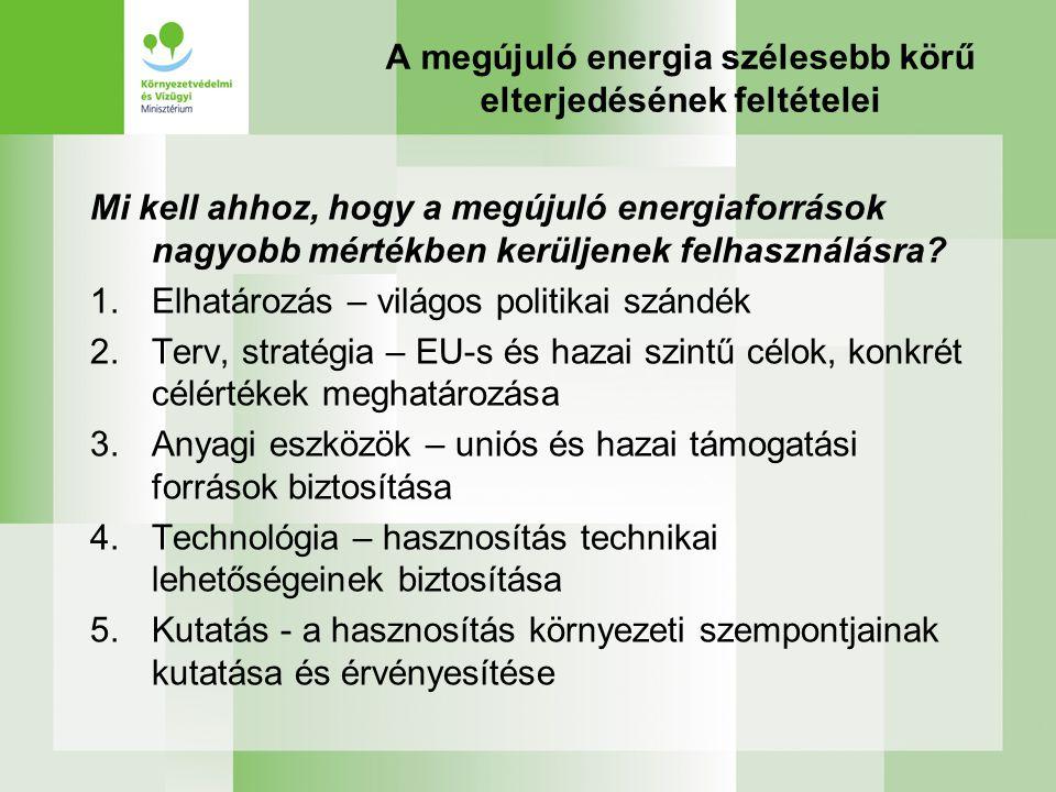 A megújuló energia szélesebb körű elterjedésének feltételei Mi kell ahhoz, hogy a megújuló energiaforrások nagyobb mértékben kerüljenek felhasználásra.