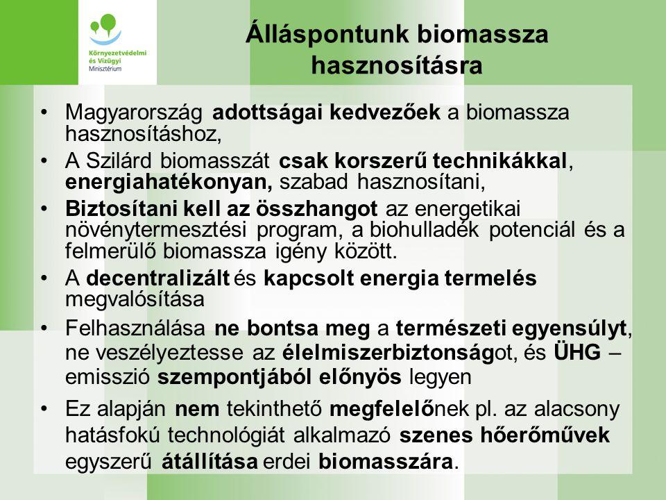 Álláspontunk biomassza hasznosításra Magyarország adottságai kedvezőek a biomassza hasznosításhoz, A Szilárd biomasszát csak korszerű technikákkal, energiahatékonyan, szabad hasznosítani, Biztosítani kell az összhangot az energetikai növénytermesztési program, a biohulladék potenciál és a felmerülő biomassza igény között.