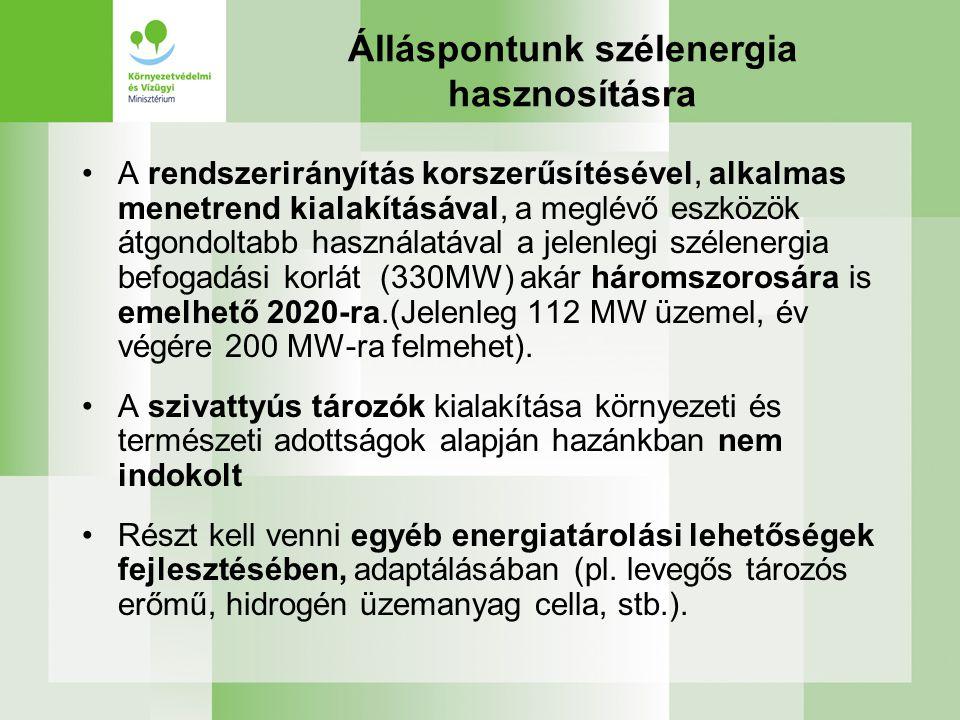 Álláspontunk szélenergia hasznosításra A rendszerirányítás korszerűsítésével, alkalmas menetrend kialakításával, a meglévő eszközök átgondoltabb használatával a jelenlegi szélenergia befogadási korlát (330MW) akár háromszorosára is emelhető 2020-ra.(Jelenleg 112 MW üzemel, év végére 200 MW-ra felmehet).