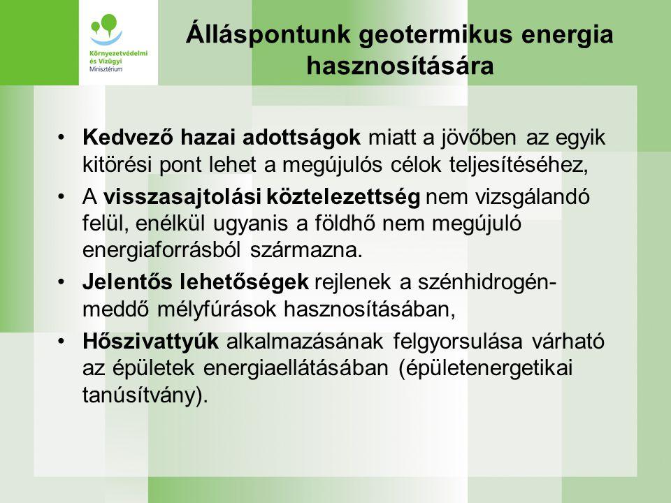 Álláspontunk geotermikus energia hasznosítására Kedvező hazai adottságok miatt a jövőben az egyik kitörési pont lehet a megújulós célok teljesítéséhez, A visszasajtolási köztelezettség nem vizsgálandó felül, enélkül ugyanis a földhő nem megújuló energiaforrásból származna.