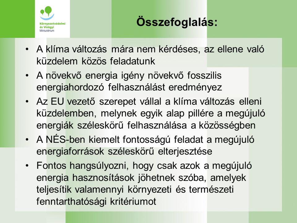 Összefoglalás: A klíma változás mára nem kérdéses, az ellene való küzdelem közös feladatunk A növekvő energia igény növekvő fosszilis energiahordozó felhasználást eredményez Az EU vezető szerepet vállal a klíma változás elleni küzdelemben, melynek egyik alap pillére a megújuló energiák széleskörű felhasználása a közösségben A NÉS-ben kiemelt fontosságú feladat a megújuló energiaforrások széleskörű elterjesztése Fontos hangsúlyozni, hogy csak azok a megújuló energia hasznosítások jöhetnek szóba, amelyek teljesítik valamennyi környezeti és természeti fenntarthatósági kritériumot