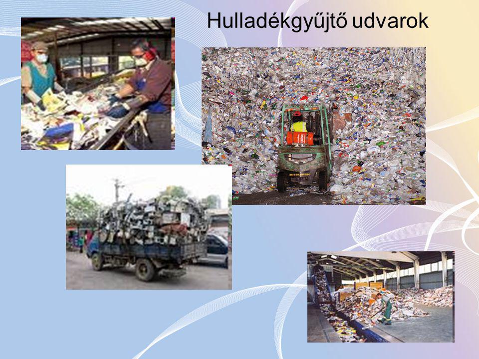 A hulladékgyűjtő udvar Hulladékgyűjtő udvar létesítésénél a hulladékbegyűjtésre vonatkozó általános szabályokon túl a következő szempontokat kell figyelembe venni: a) a településszerkezet, ezen belül a beépítettség aránya, az ellátandó lakosságszám és népsűrűség, az udvar közlekedési kapcsolata, infrastrukturális igénye; b) a lakosság által elfogadható ráhordási távolság; c) a begyűjtendő hulladékok köre; d) a begyűjtendő hulladékok mennyisége összetevők szerint; e) a kötelező közszolgáltatás és a begyűjtési rendszer kapcsolata, kialakítási feltételei; f) a begyűjtött hulladékok további kezelésének érdekében történő műveletek megvalósíthatósága; g) a hulladékhasznosítás lehetőségei; h) a hulladékgyűjtő udvar és az ártalmatlanító hely kapcsolata; i) gazdaságossági szempontok.