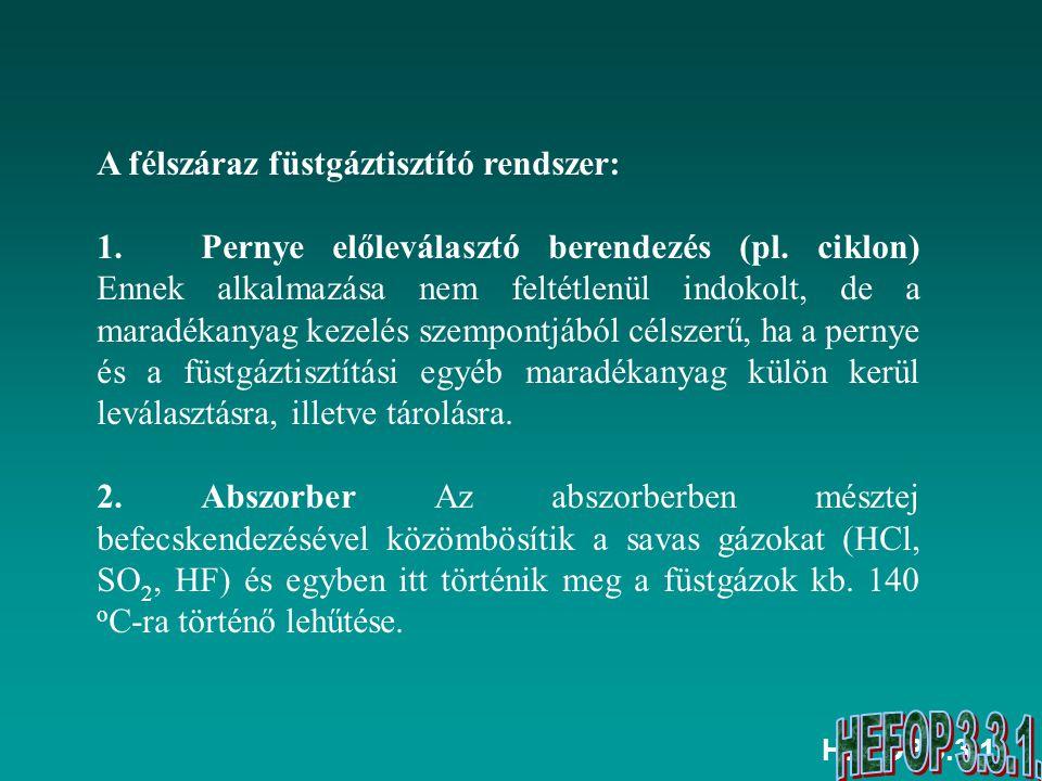HEFOP 3.3.1. A félszáraz füstgáztisztító rendszer: 1. Pernye előleválasztó berendezés (pl. ciklon) Ennek alkalmazása nem feltétlenül indokolt, de a ma