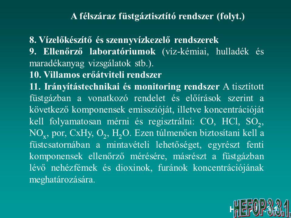 HEFOP 3.3.1. 8. Vízelőkészítő és szennyvízkezelő rendszerek 9. Ellenőrző laboratóriumok (víz-kémiai, hulladék és maradékanyag vizsgálatok stb.). 10. V