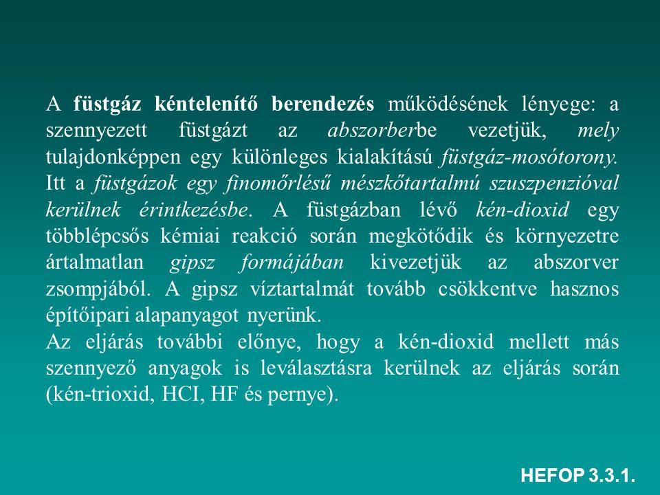 HEFOP 3.3.1. A füstgáz kéntelenítő berendezés működésének lényege: a szennyezett füstgázt az abszorberbe vezetjük, mely tulajdonképpen egy különleges