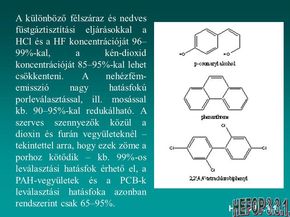HEFOP 3.3.1. A különböző félszáraz és nedves füstgáztisztítási eljárásokkal a HCl és a HF koncentrációját 96– 99%-kal, a kén-dioxid koncentrációját 85