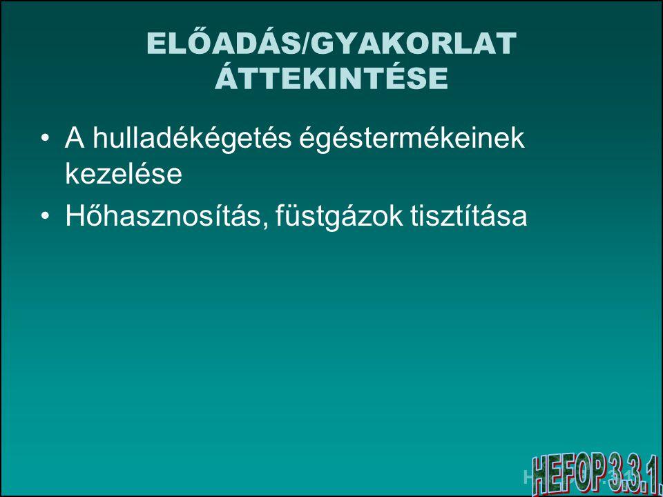 HEFOP 3.3.1. ELŐADÁS/GYAKORLAT ÁTTEKINTÉSE A hulladékégetés égéstermékeinek kezelése Hőhasznosítás, füstgázok tisztítása