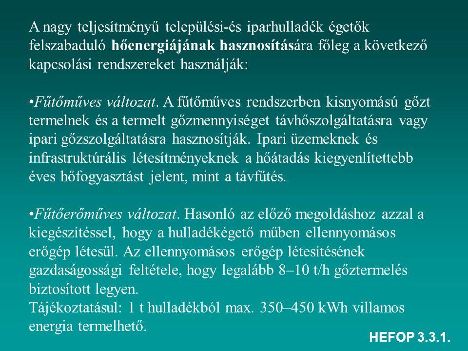 HEFOP 3.3.1. A nagy teljesítményű települési-és iparhulladék égetők felszabaduló hőenergiájának hasznosítására főleg a következő kapcsolási rendszerek