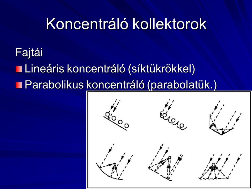 Koncentráló kollektorok Fajtái Lineáris koncentráló (síktükrökkel) Parabolikus koncentráló (parabolatük.)